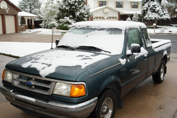 Snow. On My Truck. In May!