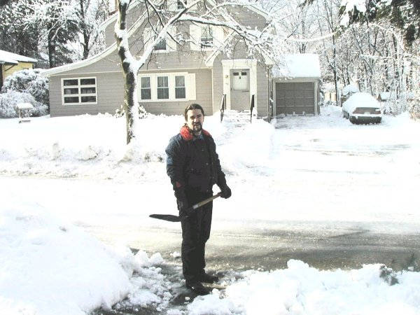 Catching my breath from all that shoveling!